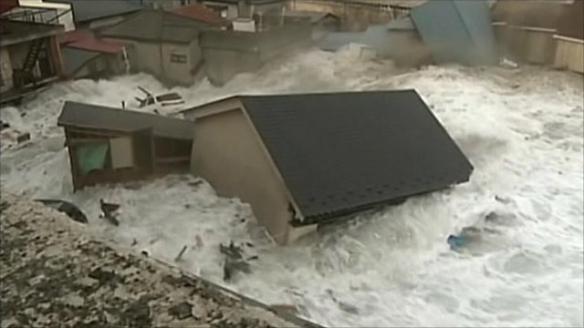 Tsunami reaching Miyako City, Iwate Prefecture