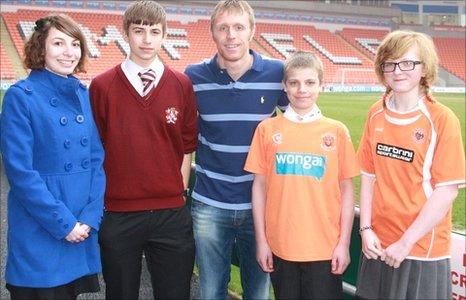 Esther, Robert, Blackpool striker Brett Ormerod, Ben and Emma