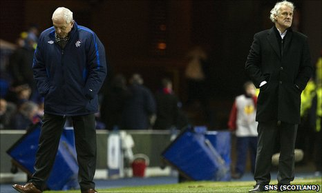 Walter Smith (left) had a disappointing final European night at Ibrox