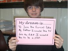 Pupil from Plymouth College holds up a his dream to join the army