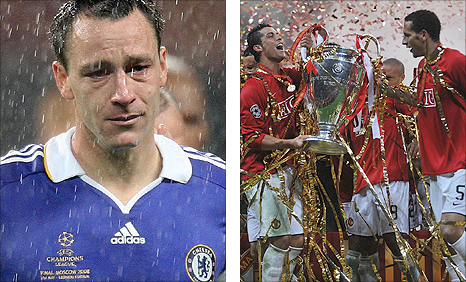 Chelsea captain John Terry was left in tears after Man Utd won the 2008 Champions League final