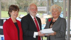 Labour Council member Jude Robinson, Labour MP Frank Dobson, Cornwall Council chairman Pat Harvey
