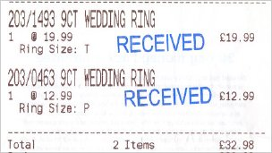 Wedding rings receipt