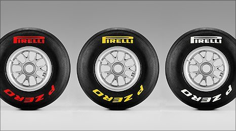 Pirelli's super-soft, soft and medium tyres
