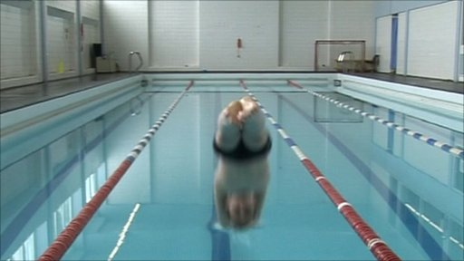 Ross diving into pool