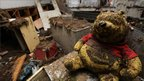 A muddied stuffed bear in a classroom of a school in Higashimatsushima city, Miyagi prefecture, on 15 March 2011