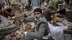 Wounded anti-government protesters in Sanaa, Yemen, 18 March 2011