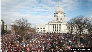 Demonstrators at the Wisconsin State Capitol