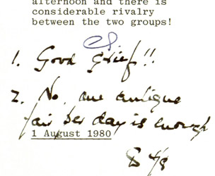 Denis Thatcher note from Thatcher archives