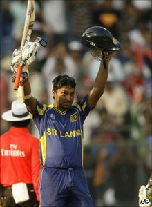Sri Lanka's Kumar Sangakkara celebrates his first century at the World Cup