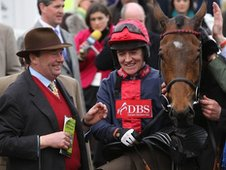Nicky Henderson and Barry Geraghty celebrate the win of Bobs Worth