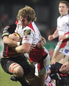 Ulster hooker Andy Kyriacou is tackled in the Ravehill game