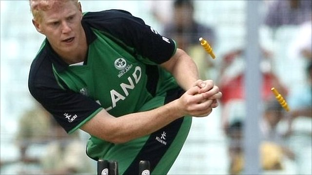 Ireland's Kevin O'Brien runs out Netherlands' Mudassar Bukhari
