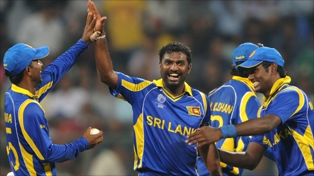 Muttiah Muralitharan celebrates another wicket