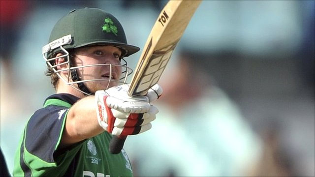 Ireland's Paul Stirling acknowledges his century