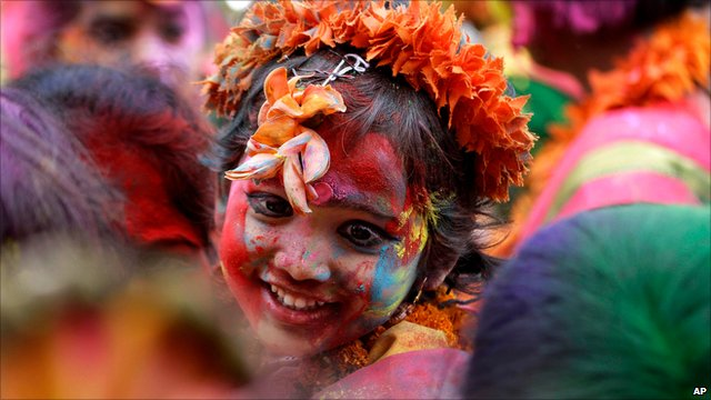 Child celebrating Holi in India