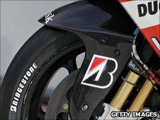 A Bridgestone tyre on a Ducati