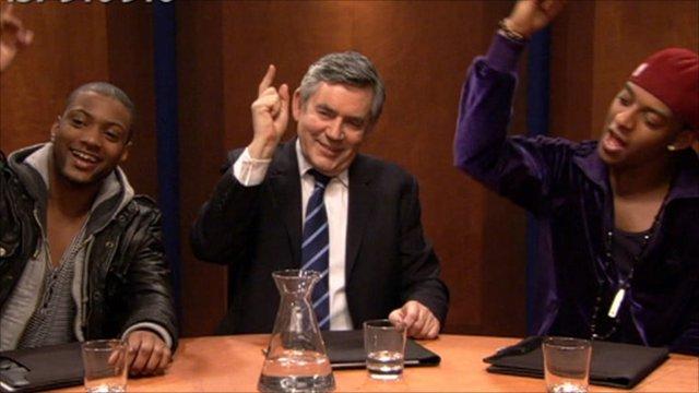 Gordon Brown with JLS members