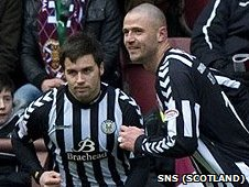Michael Higdon celebrates his goal for St Mirren