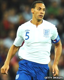 Rio Ferdinand in action for England