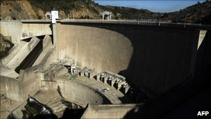 Panoramic view of Rapel dam, 150 km south of Santiago, on 20 January 20, 2011, in midst of drought