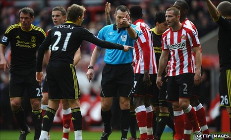 Referee Kevin Friend changes his mind after awarding Liverpool a free-kick