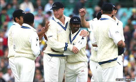Flintoff and Muralitharan teamed up for the ICC World XI in 2005