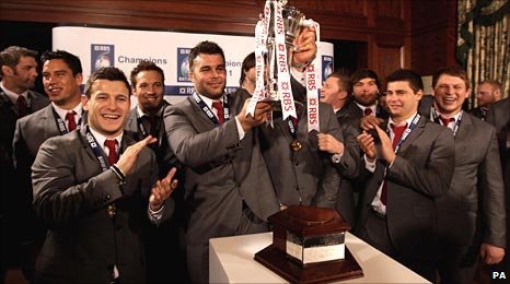England receive the Six Nations trophy in Dublin