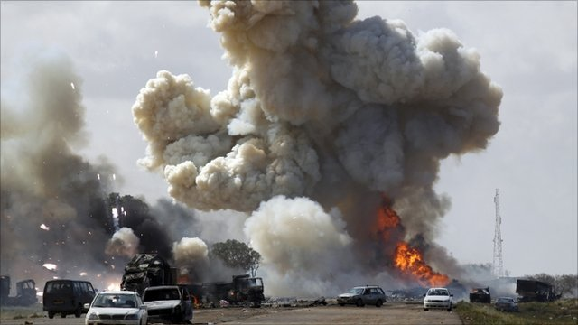 Explosions on road between Benghazi and Ajdabiyah