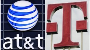 AT&amp;T and T-Mobile logos
