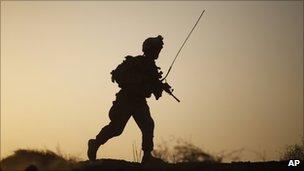 Silhouette of US soldier, marine, Helmand, Oct 2009