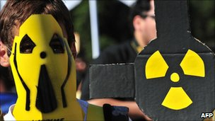 Anti-nuclear protesters in Santiago on 20 March