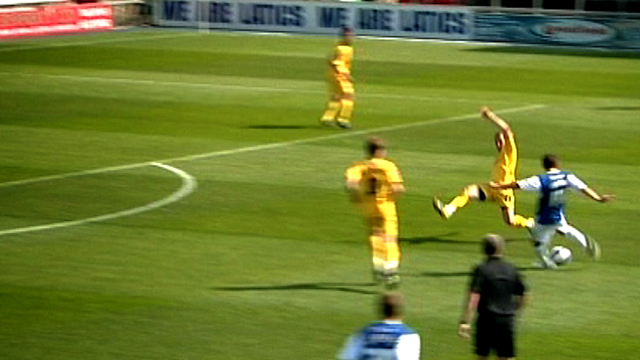 Dean Furman scores for Oldham against Notts County