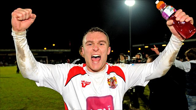 Stevenage's Peter Winn celebrates his side's win over Newcastle