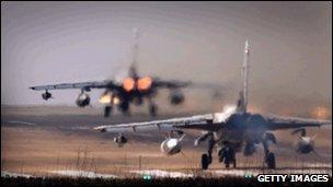 Tornado GR4 aircraft takes off at Royal Air Force Marham in England