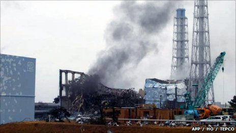 Handout picture released by TEPCO via Jiji Press on 21 March shows smoke rising from reactor No 3 at the Fukushima Daiichi nuclear plant