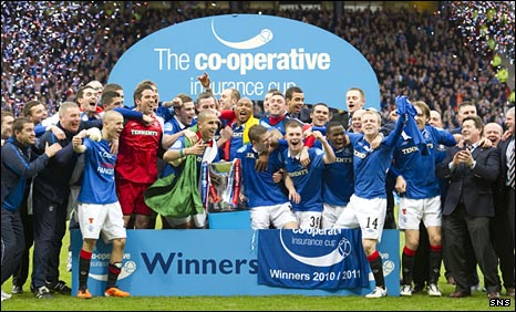 Rangers celebrate after their win at Hampden