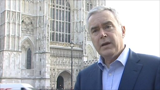 BBC presenter Huw Edwards, who will commentate on the Royal Wedding in April, outside Westminster Abbey
