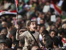 A young anti-government protester in Tahrir square in Cairo, 4 February 2011