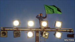 Gaddafi supporter in Tripoli (21/03)