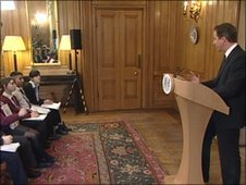 David Cameron talks to school students at Downing Street