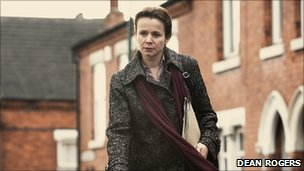 Emily Watson as Margaret Humphreys during filming in Sneinton, Nottingham