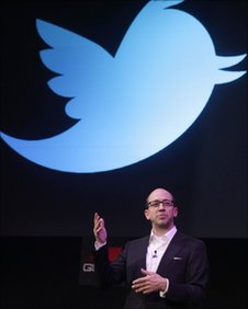 Dick Costolo, ceo of Twitter, on stage at Mobile World Congress