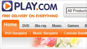 A screenshot of Play.com's homepage.