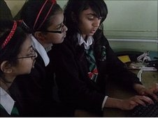 Alperton School pupils study the results of the survey