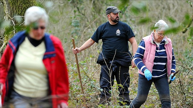 Volunteers searching Savernake Forest, near Marlborough, for signs of Miss O'Callaghan on Tuesday.