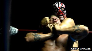 Free form wrestling - lucha libre - in Puebla, Mexico - file photo June 2008