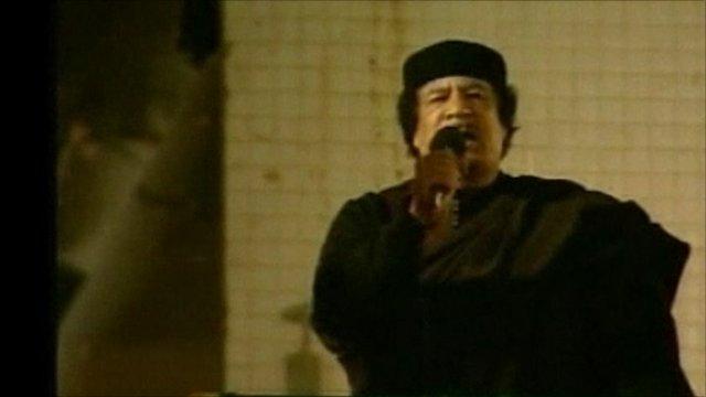 Colonel Gaddafi addressing crowd