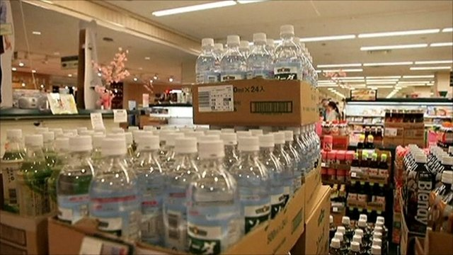 Bottles of water in Japan