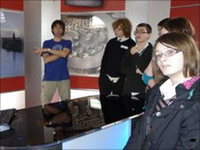 Kingussie High School pupils at the BBC in Inverness